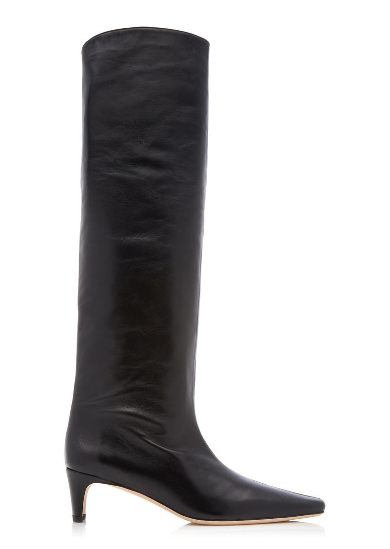 Staud - Women's Wally Tall Leather Boots - Black - Moda Operandi