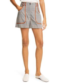STAUD Amnesia High Waist Plaid Shorts