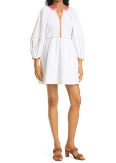STAUD Demi Long Sleeve Stretch Cotton Woven Dress
