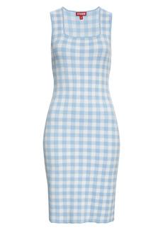 Staud Dorinne Gingham Check Sleeveless Sweater Dress