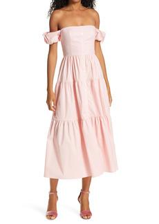 STAUD Elio Off the Shoulder Midi Dress