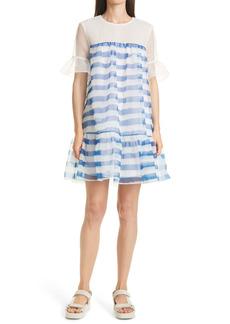 STAUD Florence Stripe Organza Shift Dress