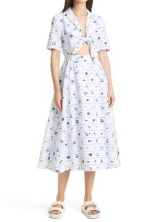 STAUD Giorgiana Pup Print Cutout Detail Cotton & Linen Midi Dress