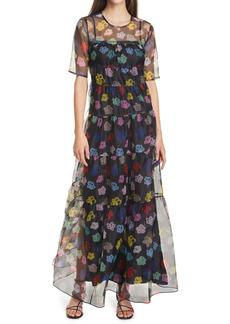 STAUD Hyacinth Crepe Organza Tiered Maxi Dress