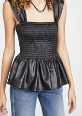 STAUD Ida Faux Leather Top
