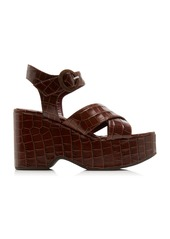 Staud Jane Croc-Effect Leather Platform Sandals