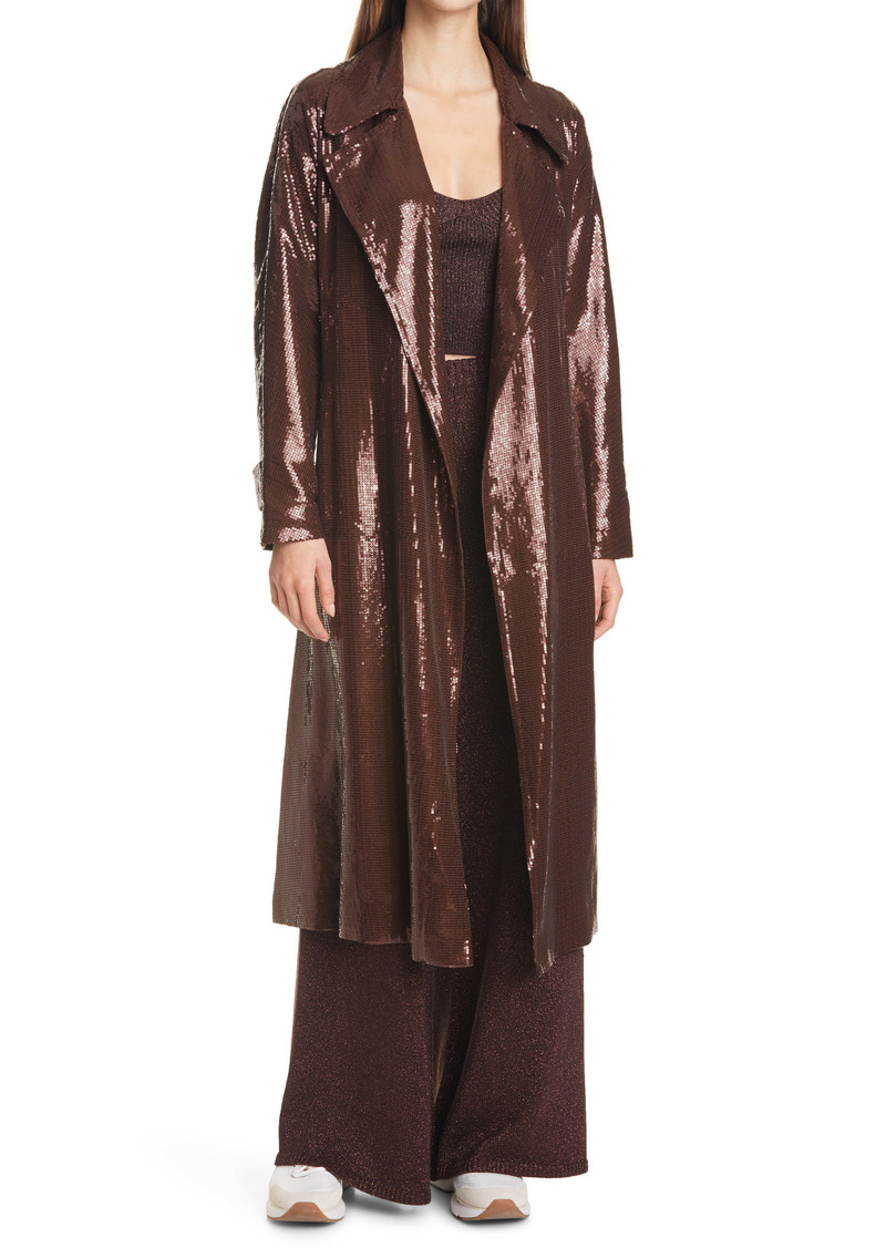 STAUD Laurent Sequin Trench Coat