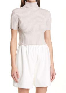 STAUD Lilou Crop Wool Blend Turtleneck Sweater