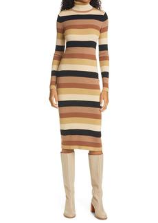 STAUD Lisa Stripe Ribbed Turtleneck Long Sleeve Midi Dress