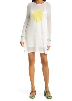 STAUD Maratea Crochet Cotton & Linen Blend Long Sleeve Tunic Dress