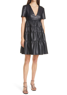STAUD Mini Cocoon Faux Leather Dress