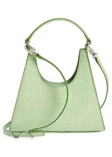 STAUD Mini Rey Croc Embossed Leather Crossbody Bag