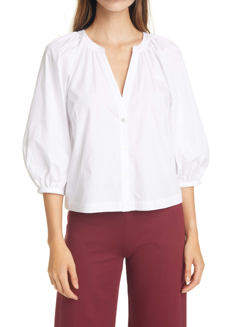 STAUD New Dill Stretch Cotton Button-Up Blouse