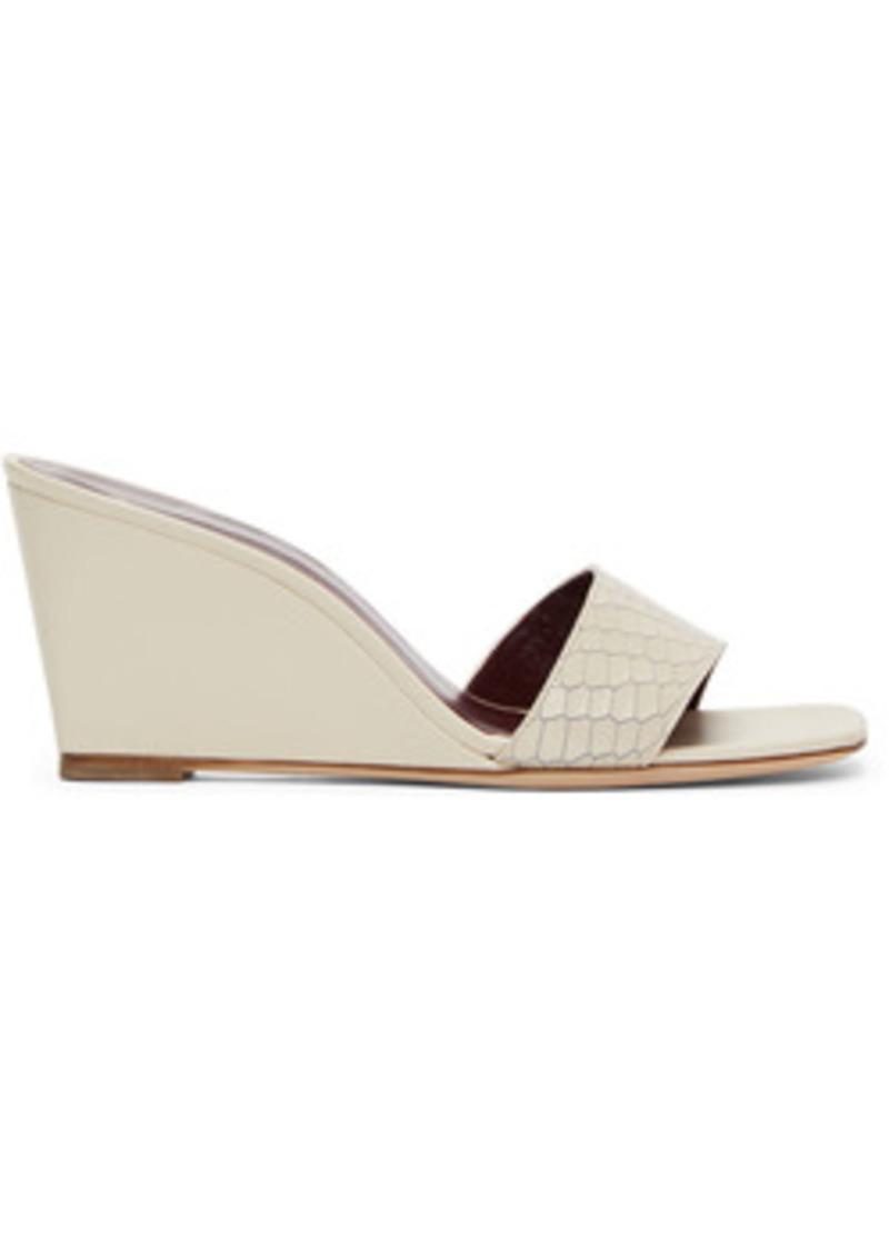 Staud Off-White Snake Billie Wedge Sandals