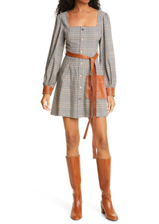STAUD Oz Long Sleeve Glen Plaid Faux Leather Detail Minidress