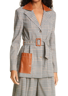 STAUD Paprika Glen Plaid Belted Jacket with Faux Leather Trim
