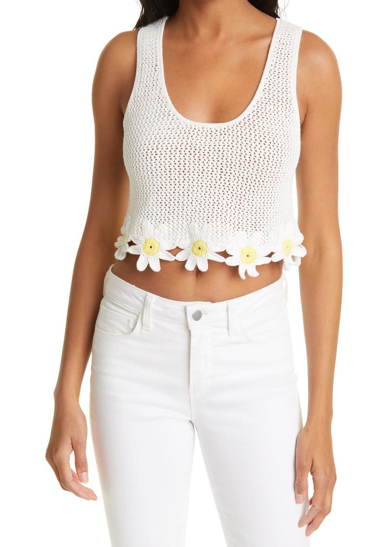 STAUD Portofino Daisy Hem Cotton & Linen Blend Knit Crop Top