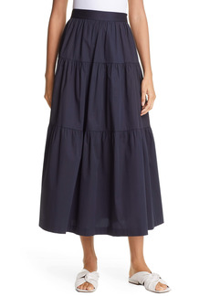 STAUD Tiered Stretch Cotton Maxi Skirt