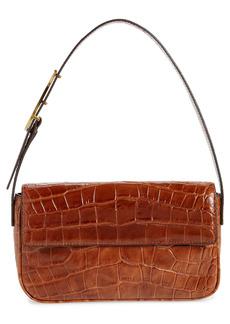 STAUD Tommy Croc Embossed Leather Shoulder Bag