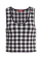 Staud Trail Gingham Jacquard Crop Top