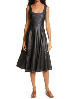 STAUD Wells Fit & Flare Faux Leather Midi Dress