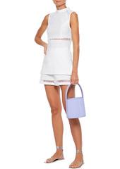 Staud Woman Atlas Lattice-trimmed Linen-blend Top White