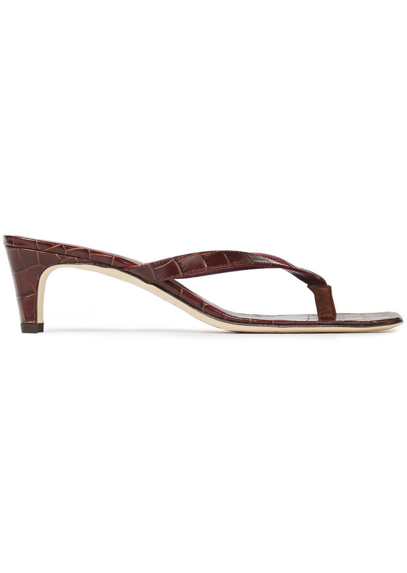Staud Woman Audrey Croc-effect Leather Sandals Chocolate