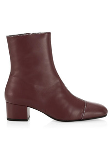 STAUD Stella Square-Toe Leather Ankle Boots