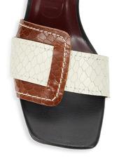 STAUD Sylvie Snakeskin-Embossed Leather Wedge Mules