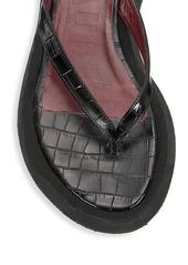 STAUD Tessa Croc-Embossed Leather Platform Thong Sandals