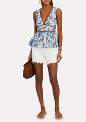 STAUD Trent Toile Sleeveless Peplum Top
