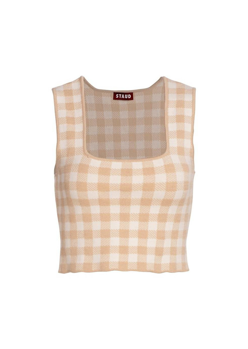 STAUD Trial Gingham Cropped Top