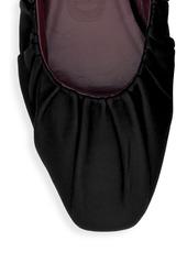 STAUD Tuli Square-Toe Leather Ballet Flats