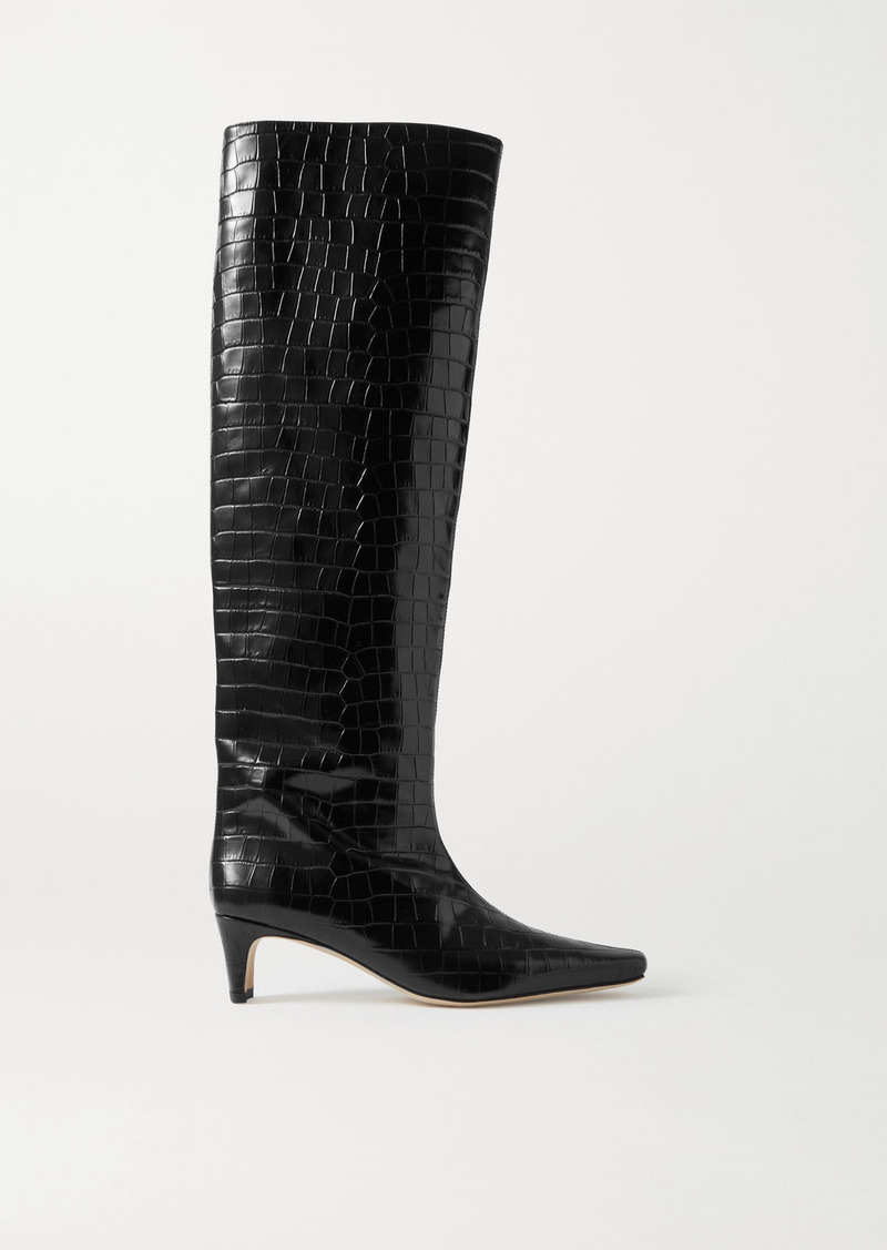 STAUD Wally Croc-effect Leather Knee Boots