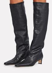 STAUD Wally Croc-Embossed Knee-High Boots