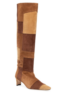STAUD Wally Tall Patchwork Suede Boots