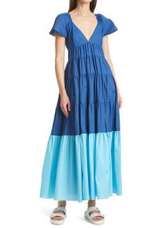 Women's Staud Corsica Colorblock Recycled Nylon Tiered Dress