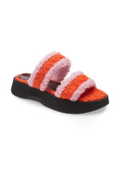 STAUD Faux Shearling Slide Sandal