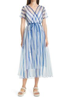Women's Staud Filippa Stripe Wrap Dress