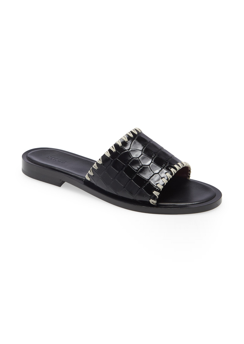 STAUD Genie Croc Embossed Sandal