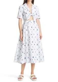 Women's Staud Giorgiana Pup Print Cutout Detail Cotton & Linen Midi Dress