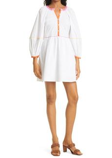 Women's Staud Mini Demi Long Sleeve Stretch Cotton Woven Dress