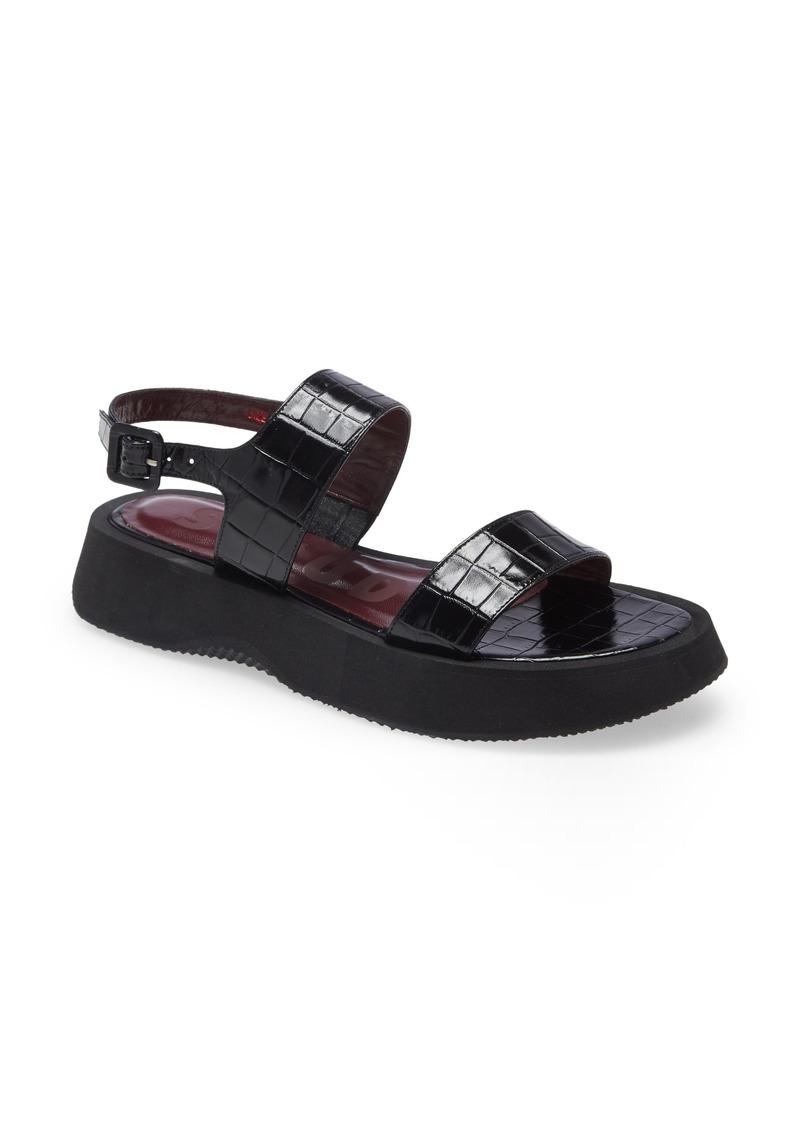 Women's Staud Nicky Croc Embossed Platform Sandal