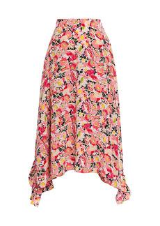 Stella McCartney Ashlyn Watercolor Floral Silk Skirt