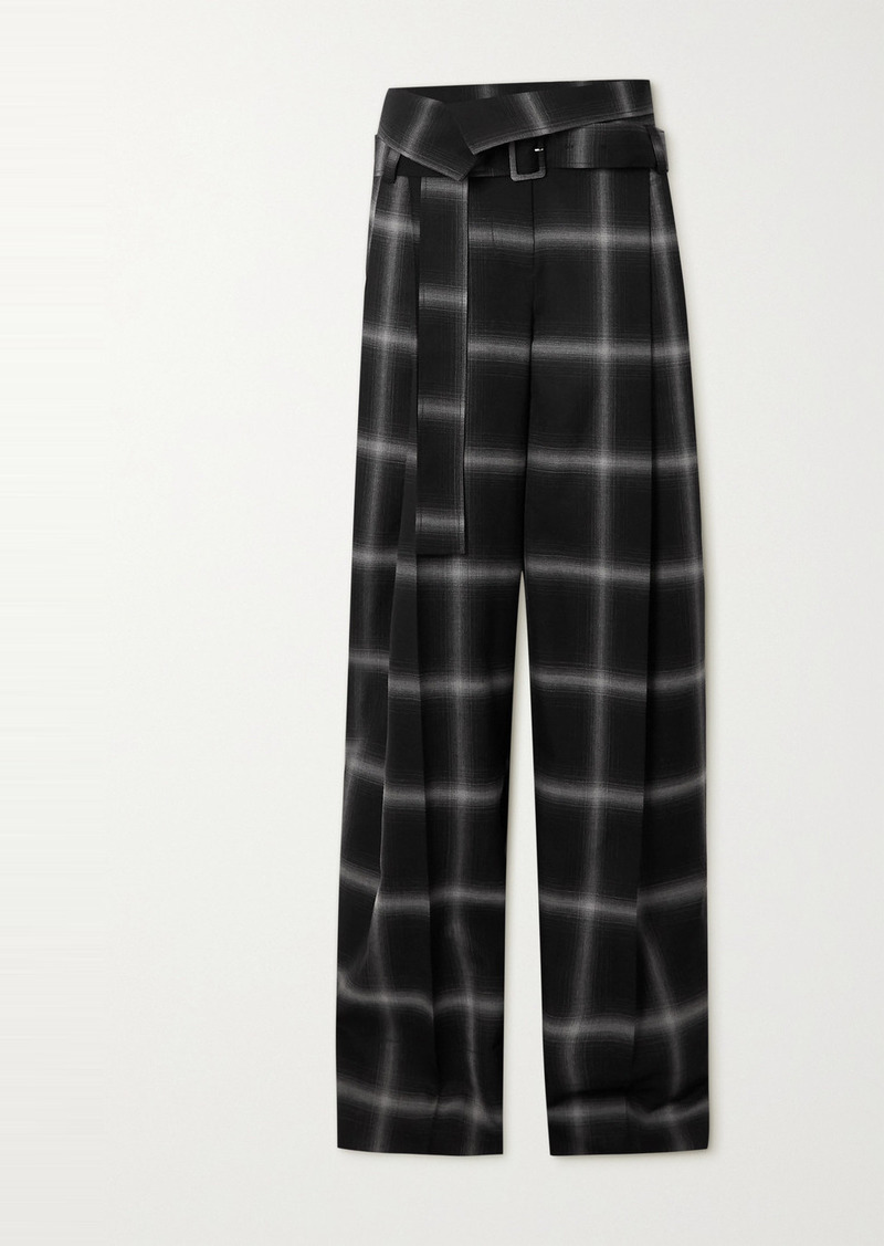 Stella McCartney Belted Checked Wool Wide-leg Pants