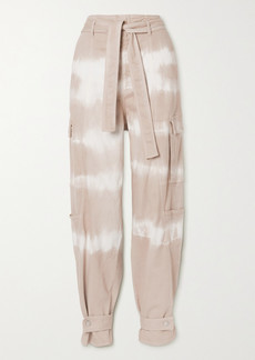 Stella McCartney Belted Tie-dyed Tapered Denim Pants