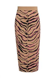 Stella McCartney Compact Stretch-Wool Tiger Knit Skirt