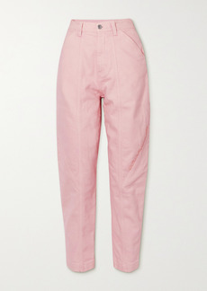 Stella McCartney Cropped Embroidered High-rise Tapered Jeans