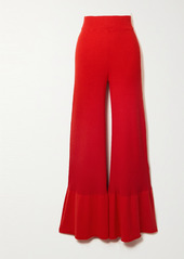 Stella McCartney Fluted Ribbed Organic Cotton-blend Flared Pants