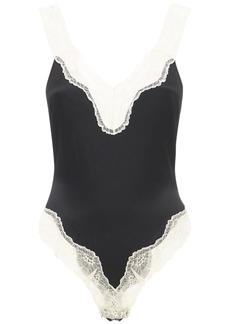 Stella McCartney Kitty Silk Satin & Lace Bodysuit